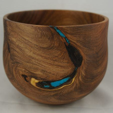 Mesquite bowl with turquoise embellishments