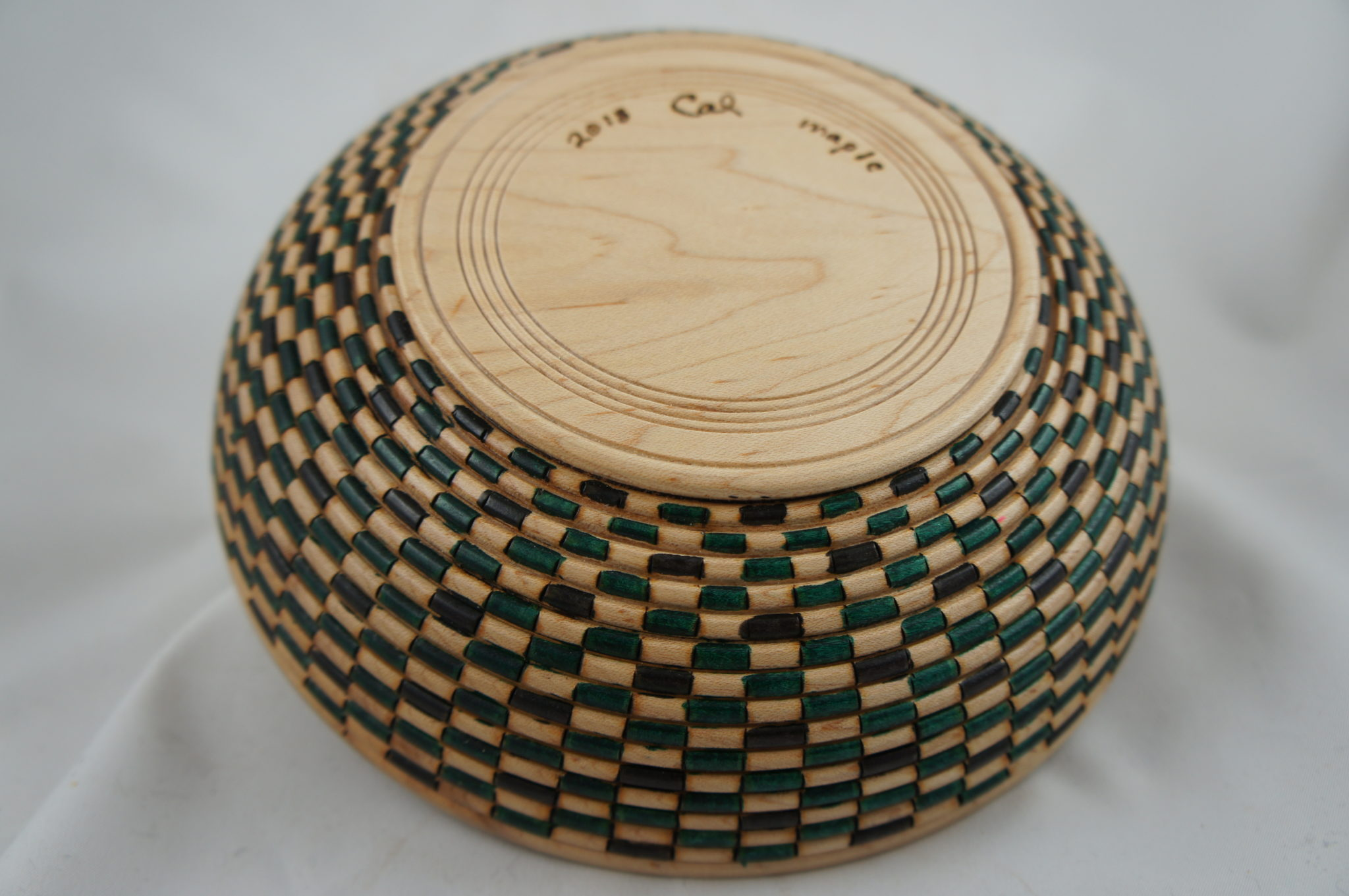 Basket weave maple bowl